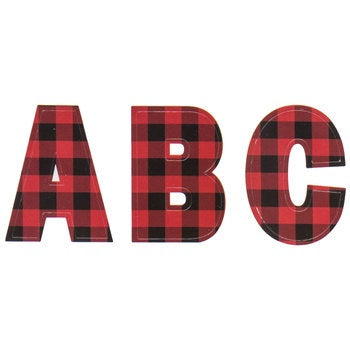 Buffalo plaid alphabet stickers