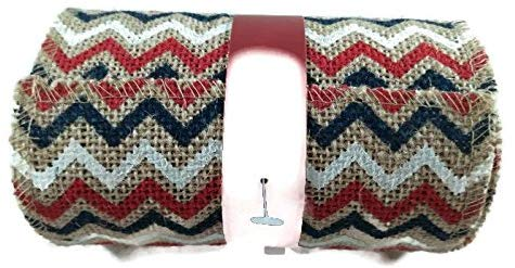 Patriotic Chevron Burlap Ribbon Red White Blue