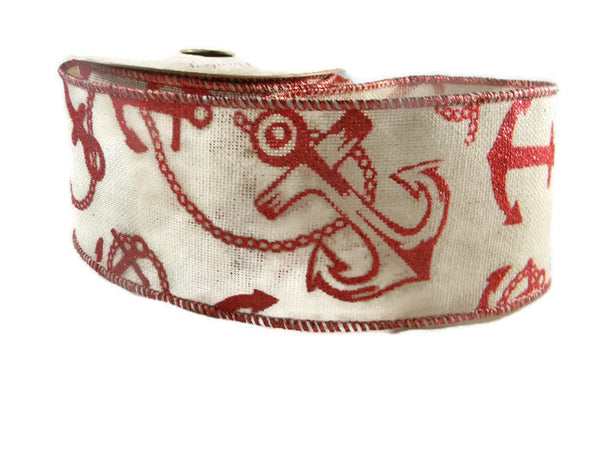 Red glitter Nautical/Anchor Burlap Ribbon