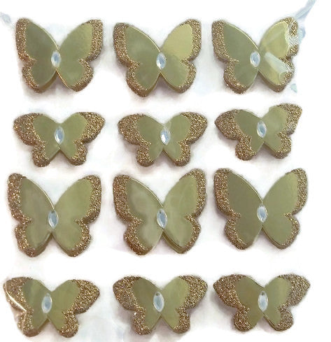 3d Metallic Gold Butterfly Layered Stickers