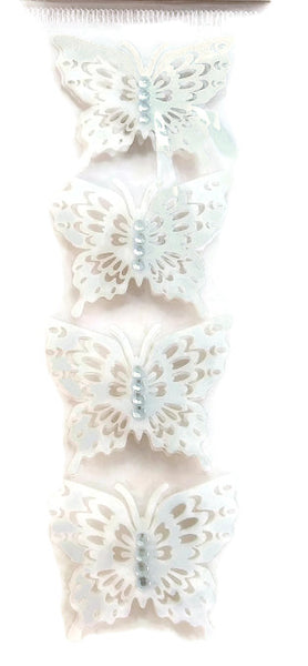 3d Butterfly Stickers White Paper Lace with Rhinestones