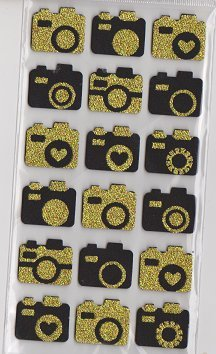 Black & Gold Camera Foam Stickers