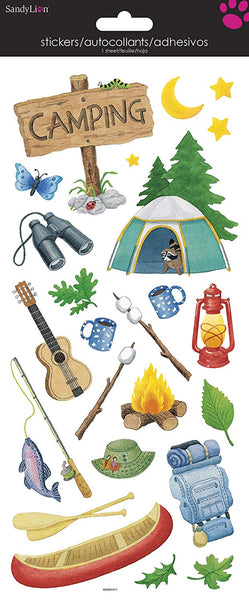 Camping Clear Stickers Set