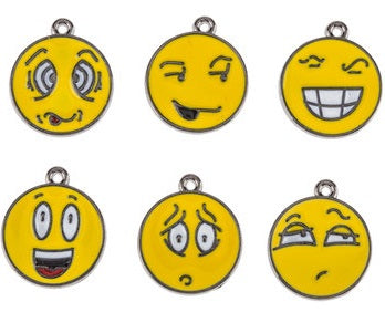 Emoji Emoticon Enamel Jewelry Charms Set of 6