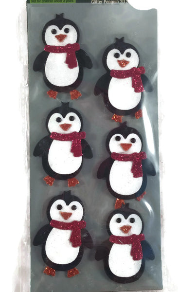 Christmas penguin Stickers 3d Glitter Set of 6