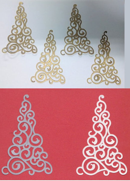 Christmas Tree Swirl Shimmer Die Cuts White Gold or Silver