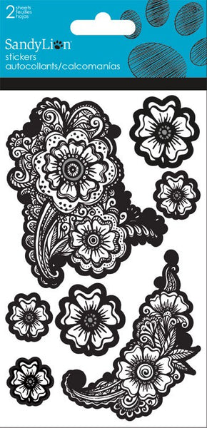 Flower Coloring Book Stickers 2 Sheets