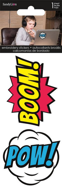 Comic Bursts Super Hero Embroidered Stickers