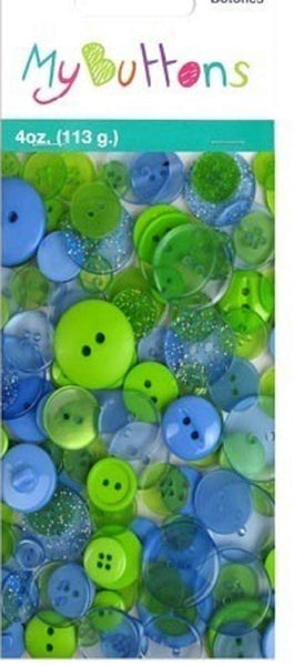 Blue and Green Clear Button Value Bag