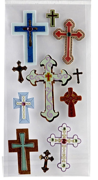 Colored Foil Cross 3d Stickers Faith Religious Christian