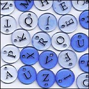 Crystal Denim Blue Alphabet Buttons Embellishments