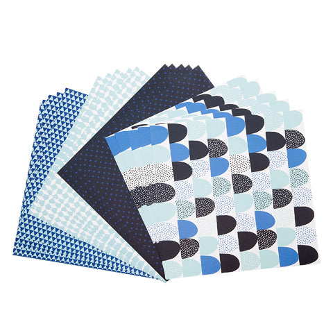 Blue Geometric Prints Patterned Cardstock Paper 12x12 - 20 Sheets