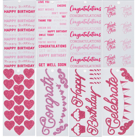 Pink Word and symbol Stickers Book