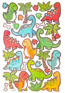 Glitter Fun Cutesy Bright Color Dinosaur Stickers