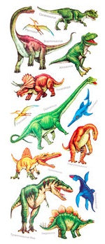 Realistic Dinosaur Stickers 12 inch tall Sheet Scrapbooking