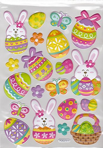 Easter Bunnies 3-d Puffy Dimensional Stickers