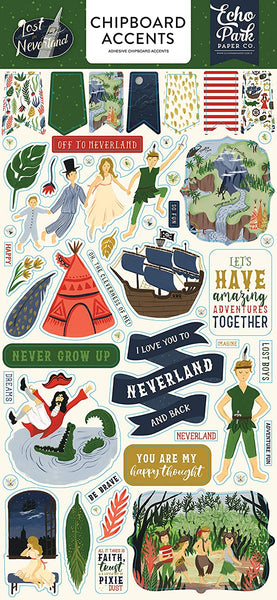 Lost in Neverland Chipboard Accents Stickers