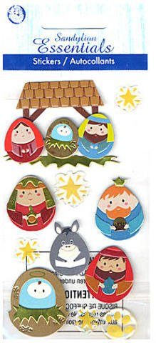 Away in a Manger Nativity 3d Christmas Scrapbook Stickers