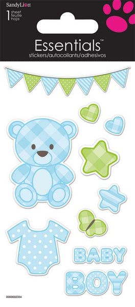 Baby Bear Boy 3d Essential Scrapbook Stickers