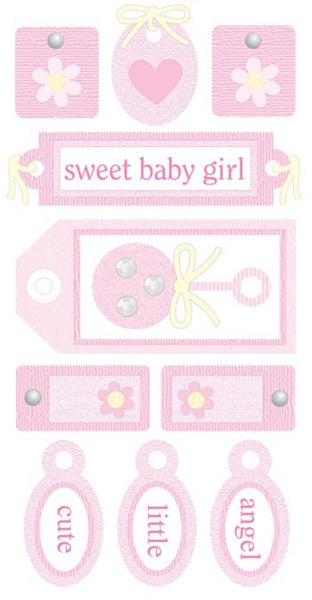 Baby Girl Tags - Essentials 3d Stickers