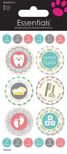 Babys 1sts Circle Icon Stickers for Planners, Scrapbooks