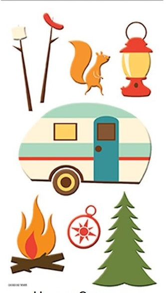 3d Happy Camper Camping Stickers