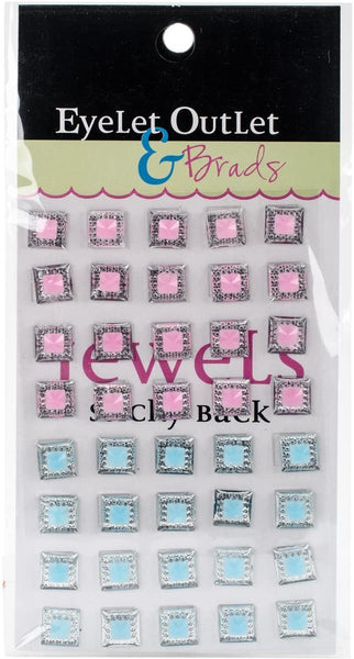Bling Self-Adhesive Square Jewels 10mm 40/Pkg-Blue/Pink