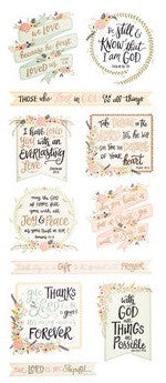 Floral Faith Word Phrase Stickers Scrapbook Quotes Religious