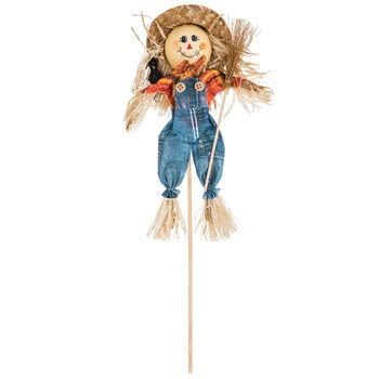 Fall Scarecrow Denim Overalls Floral Pick