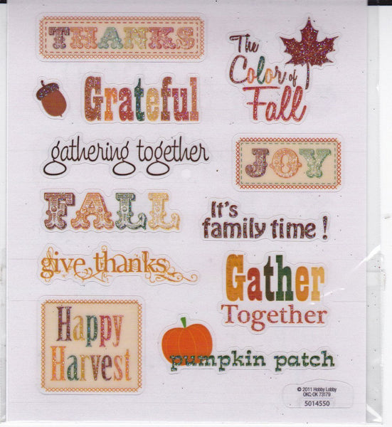 Fall/Autumn Word Stickers Set
