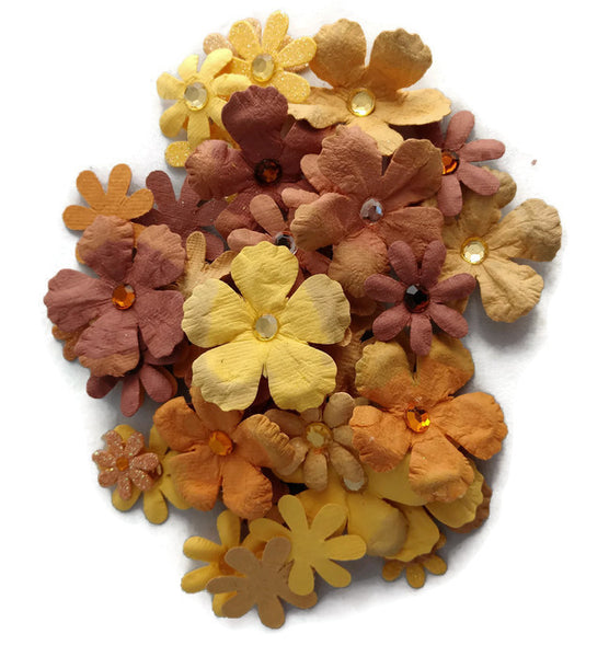 Yellow Fall Paper Flowers Embellishments