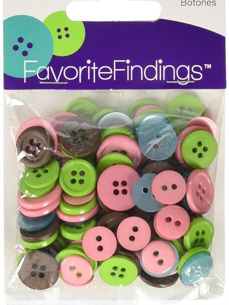 Clean Colored Round Buttons Assortment