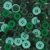 Green Assorted Colored Round Buttons Set 130ct