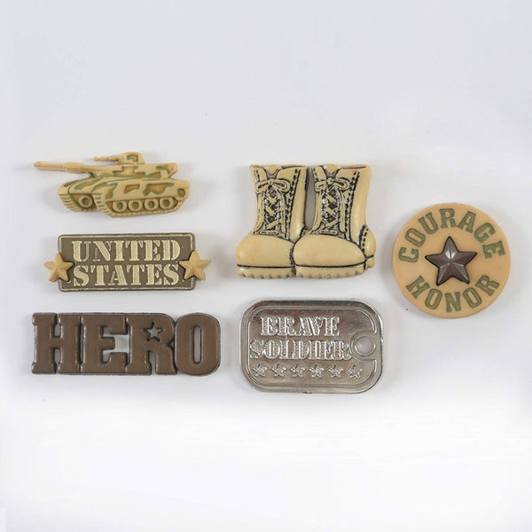 Military Hero Themed Buttons Set