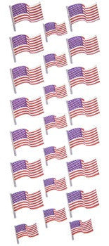 Glitter US American Flag Puffy Stickers - 23pc