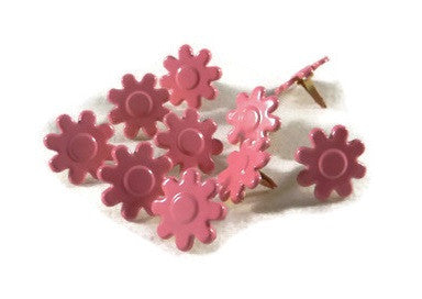 Bright Pink Flower Brads - 10pc by Eyelet Queen