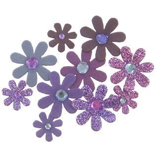Purple Glitter Paper Flowers