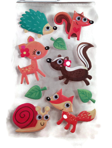 Puffy Woodland Animal Stickers