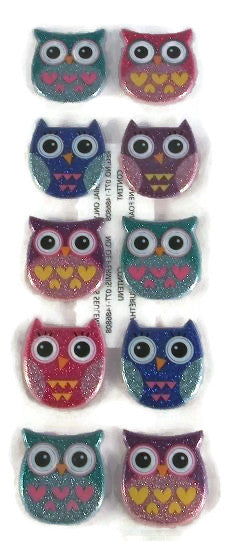 3d Puffy Glitter Owl Stickers Scrapbooking