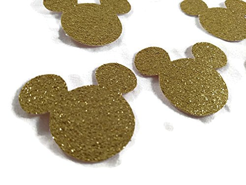 Gold Glitter Mickey Mouse Die Cut Shapes