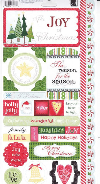 Holly Jolly Christmas Cardstock Stickers by Adornit