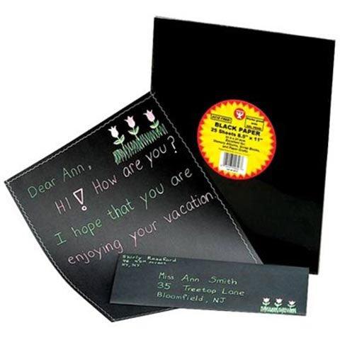 "Black Paper Pack -  8.5""X11"" 25/Pkg by Hygloss"