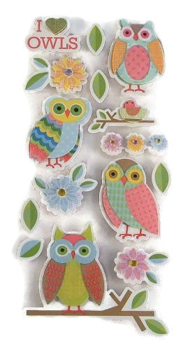3d Owl Stickers I Love Owls