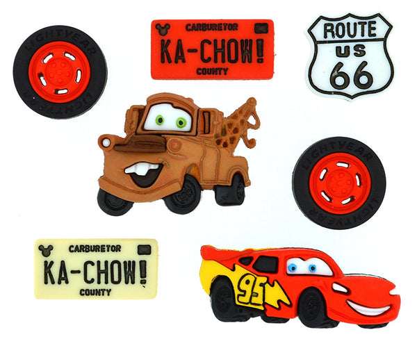 Cars Disney Character Button Embellishments