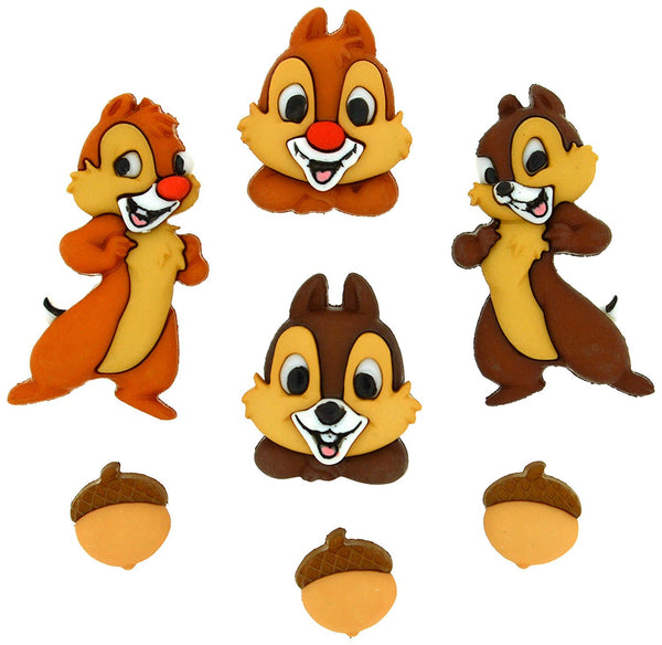 Chip and Dale Disney Character Button Embellishments