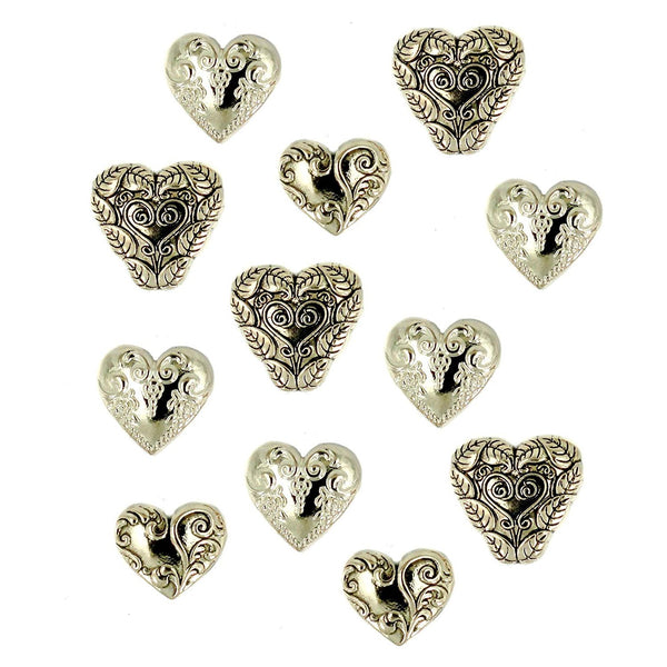 Gold Heart Buttons Assortment Set