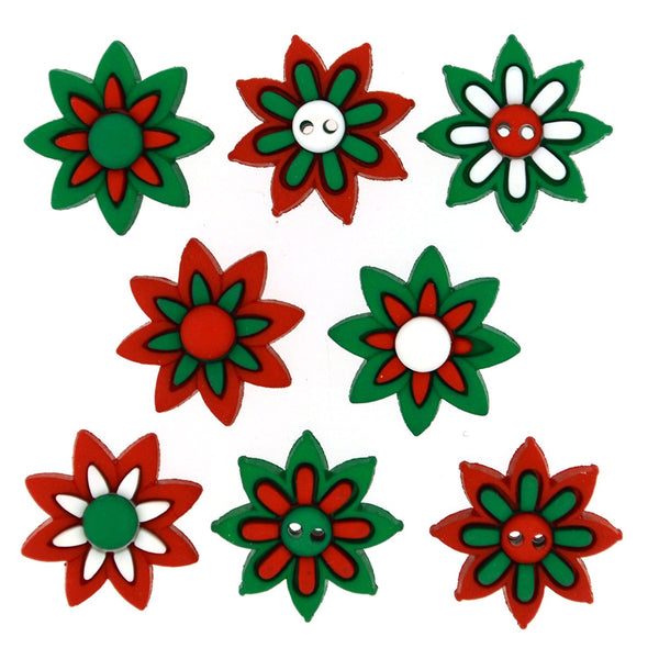 Christmas Holiday Blooms Flower Buttons Poinsettia Buttons