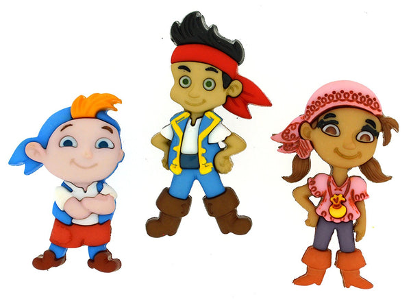 Jake And The Neverland Pirates Disney Character Button Embellishments