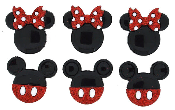 Mickey And Minnie Glitter Disney Character Button Embellishments