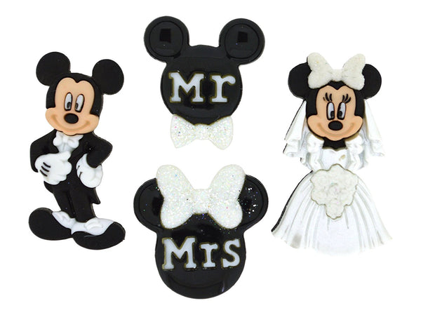 Mickey & Minnie Mouse Wedding Disney Character Button Embellishments